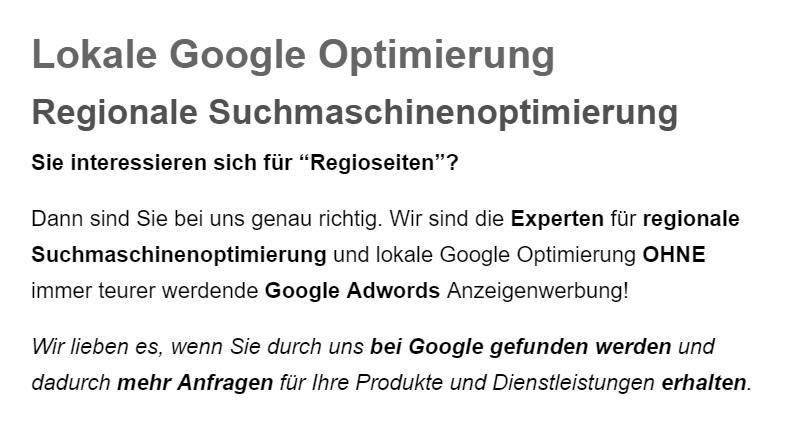 Lokale Googleoptimierung, Google Places Optimierung in  Wüstheuterode, Fretterode, Dieterode, Thalwenden, Röhrig, Mackenrode, Lenterode oder Dietzenrode-Vatterode, Eichstruth, Schönhagen