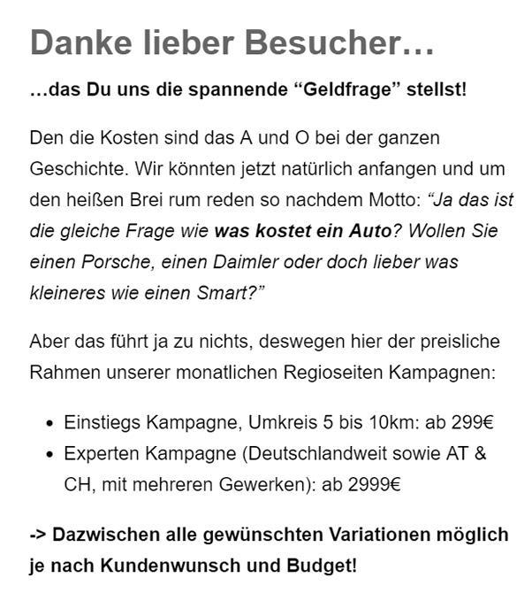 Onlinemarketing Budget aus 23619 Mönkhagen